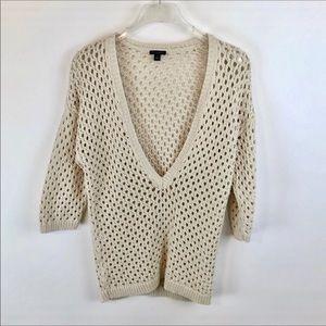 Ann Taylor 100% Cotton Beige Open Knit Sweater